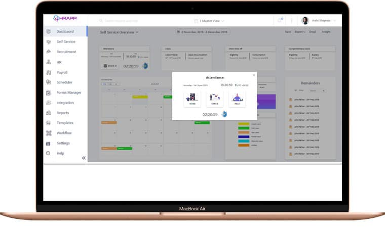 Dashboard view of self service insights like attendance, productivity