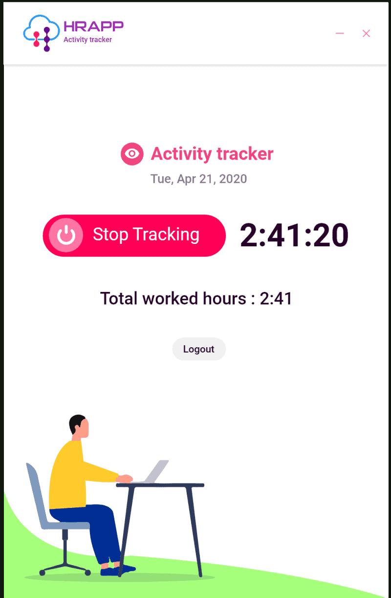 Snapshot of the HRAPP employee activity tracking desktop client