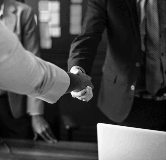 Businessmen shaking hands, Black and white concept