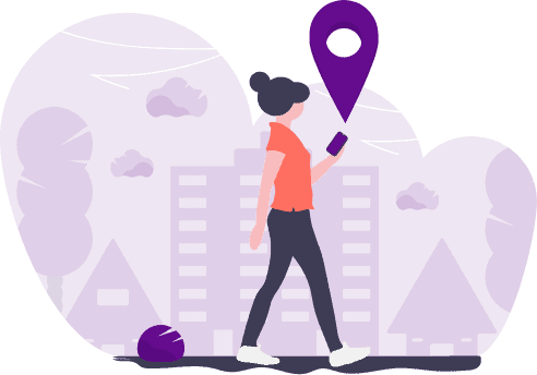 Vector illustration of a woman holding mobile on her hand insearch of location