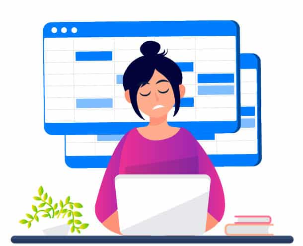 Image of female worker working on laptop representing HR management system