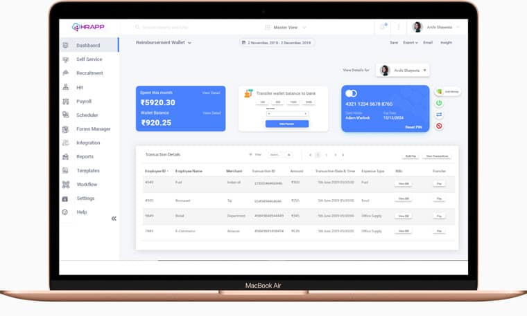 Dashboard view showing reimbursement wallet of an employee, as a part of encouraging the work done